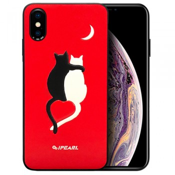 ỐP LƯNG IPHONE XS MAX IPEARL ANIMAL PATTERN LUMINOUS DESIGN (COUPLE CAT)